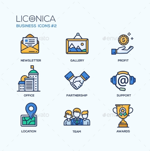 Set of Modern Office Thin Line Flat Design Icons 14013919