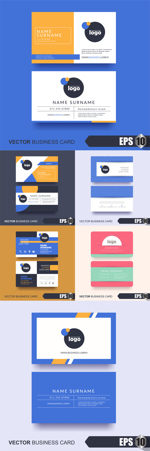 Vector Business Card Design Layout Template with Modern Pattern