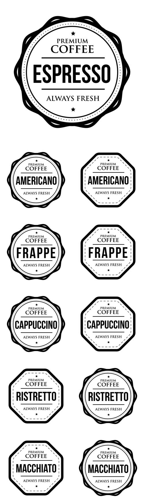 Vector Coffee Vintage Stamps