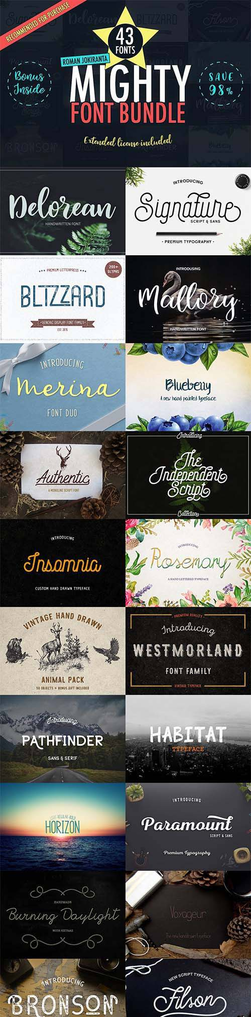 43 Mighty Font Bundle 1176484