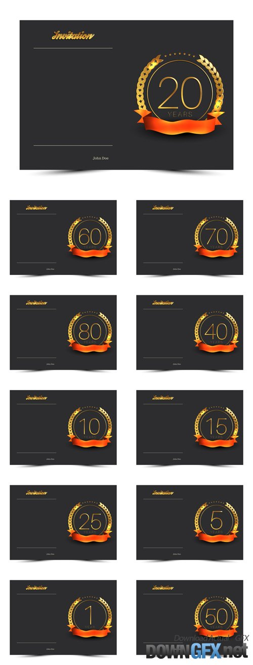 Vector Anniversary Decorated Greeting or Invitation Card Templates