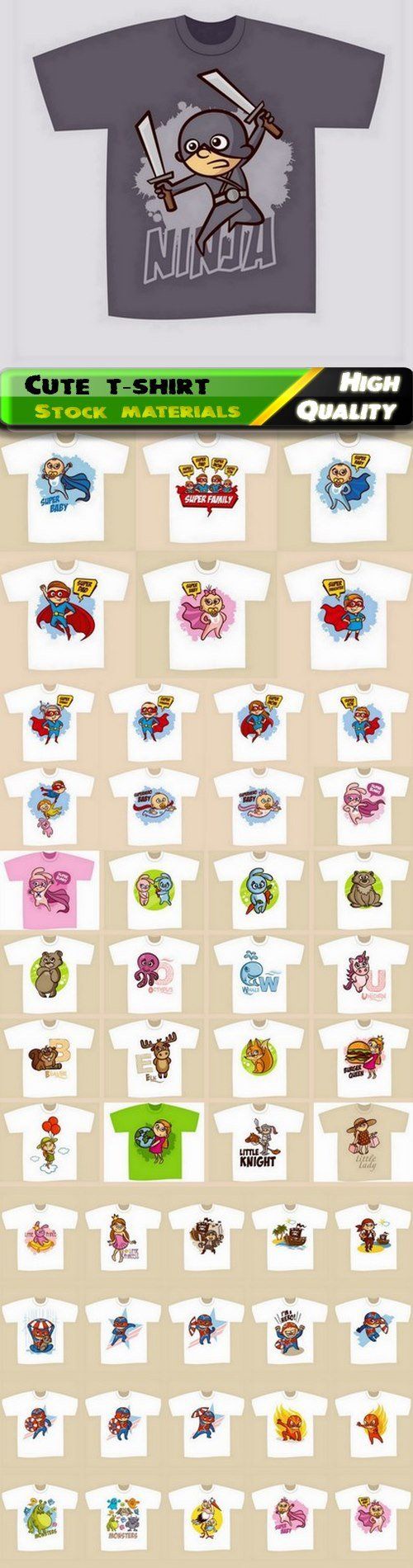Cute fashion stylish t-shirt print for kids and children clothes 50 Eps
