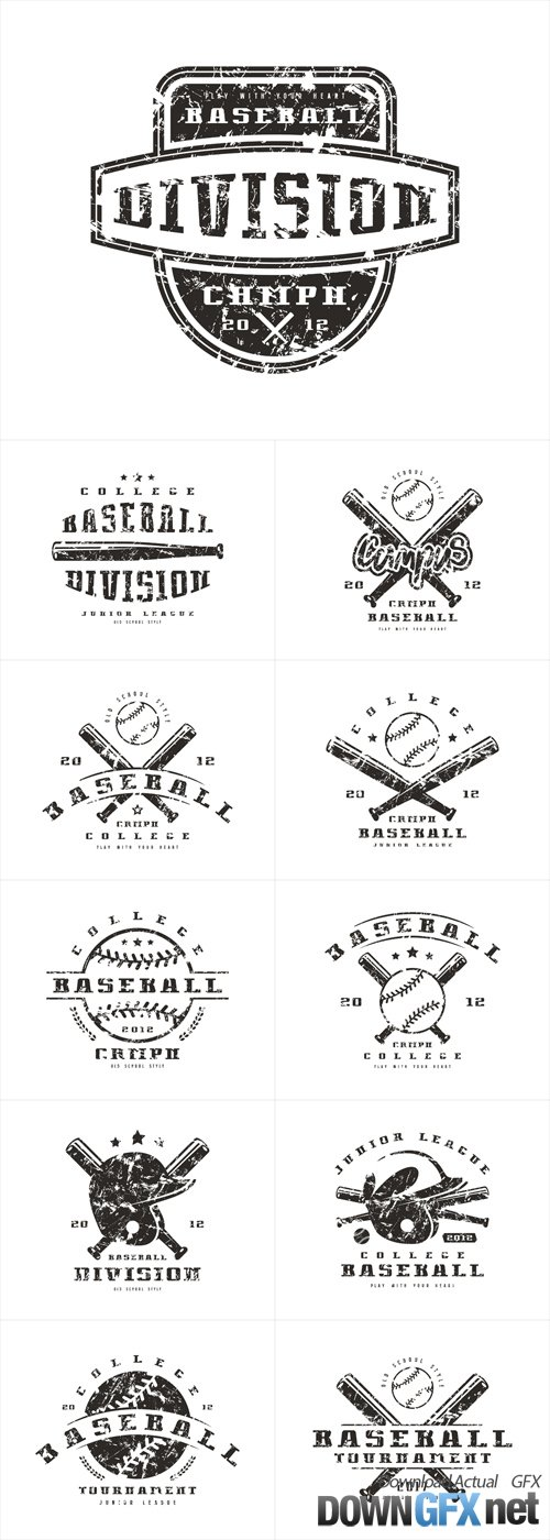 Vector Emblem of Baseball Tournament. Graphic Design for T-shirt