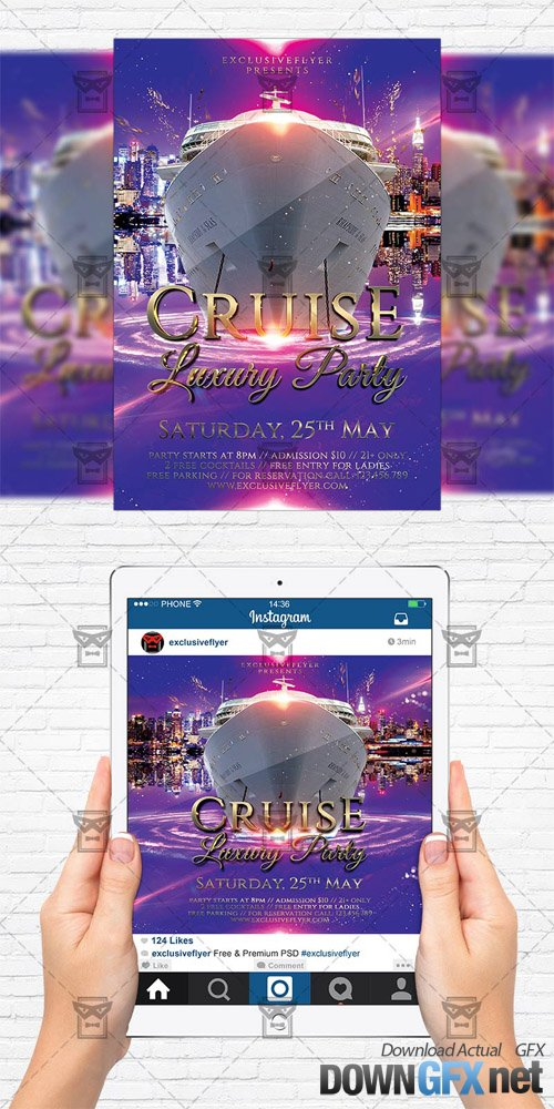 Flyer Template + Instagram Size Flyer - Luxury Cruise Party