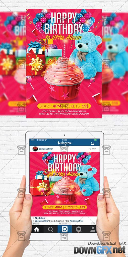 Flyer Template + Instagram Size Flyer - Kids Birthday Party