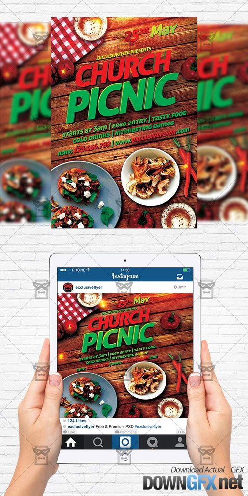 Flyer Template + Instagram Size Flyer - Church Picnic 2