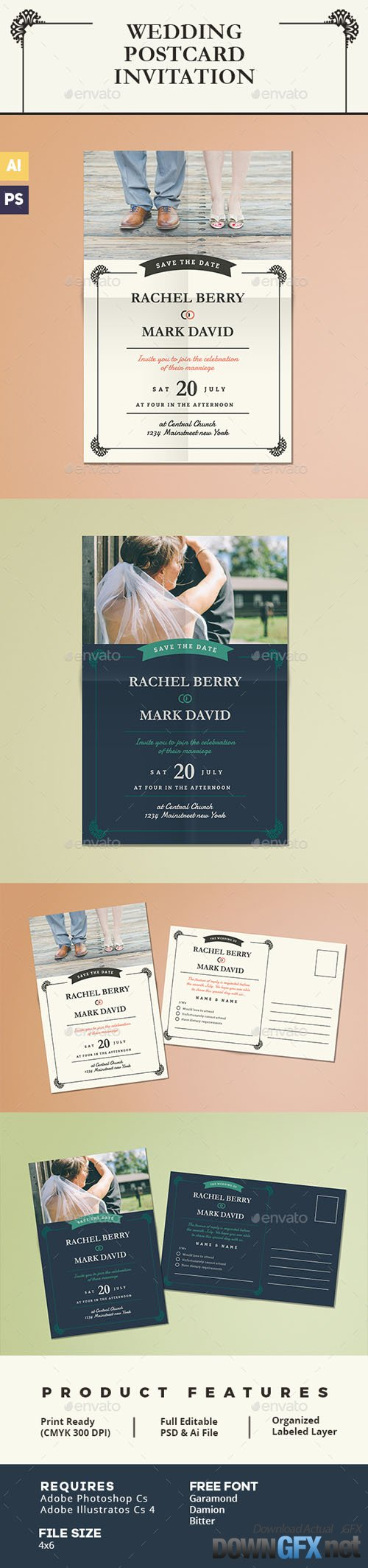 Elegant Wedding Postcard Invitation 15902160