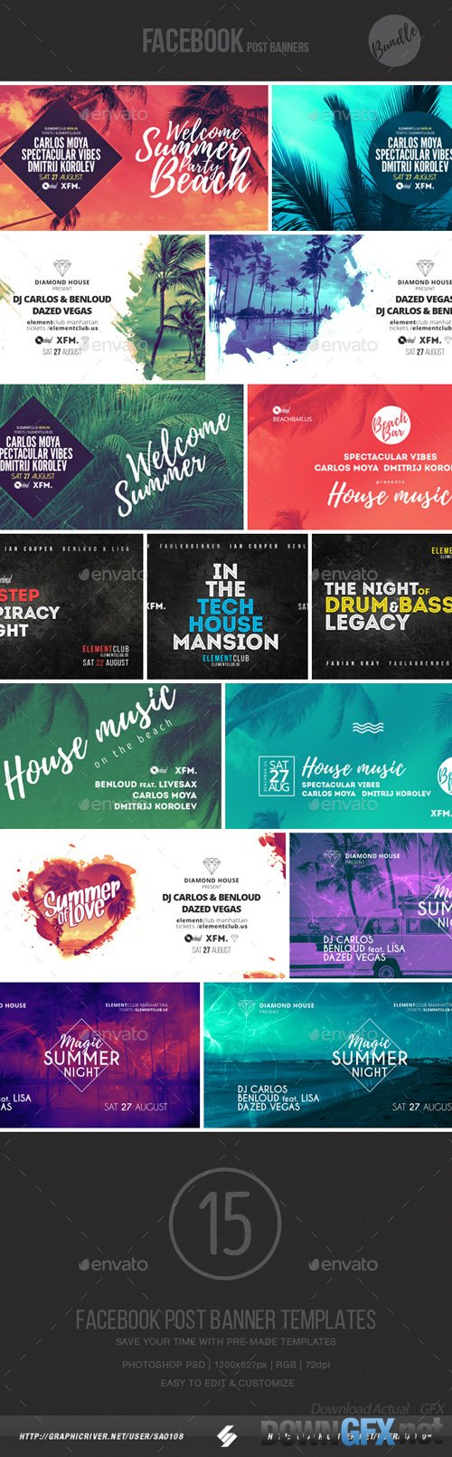 GR - Electronic Music Event Facebook Post Banner Templates Bundle 4 19904876