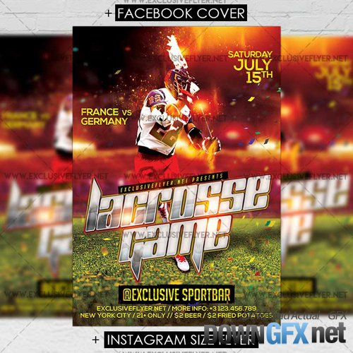 Premium A5 Flyer Template - Lacrosse Game