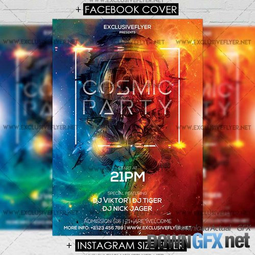 Premium A5 Flyer Template - Cosmic Party
