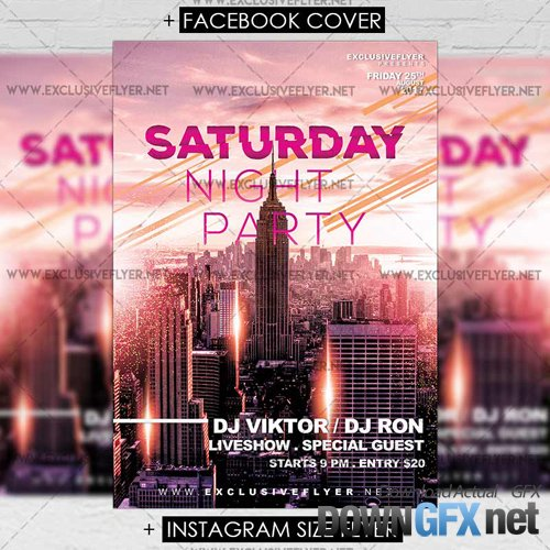 Premium A5 Flyer Template - Saturday Night Party