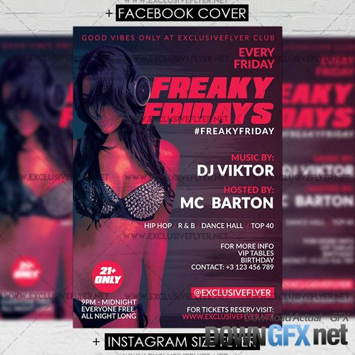 Premium A5 Flyer Template - Freaky Fridays