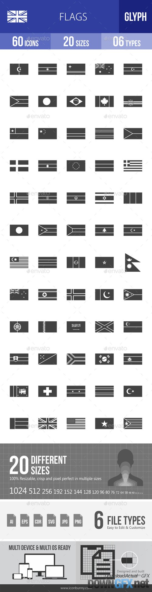 Flags Glyph Icons 18210000
