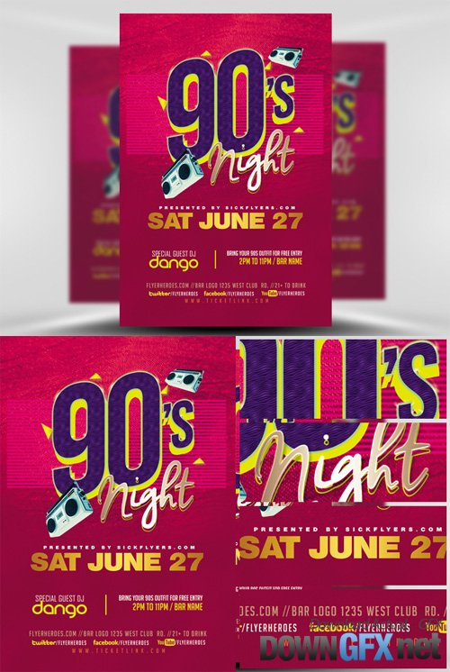 Flyer Template - 90s Party
