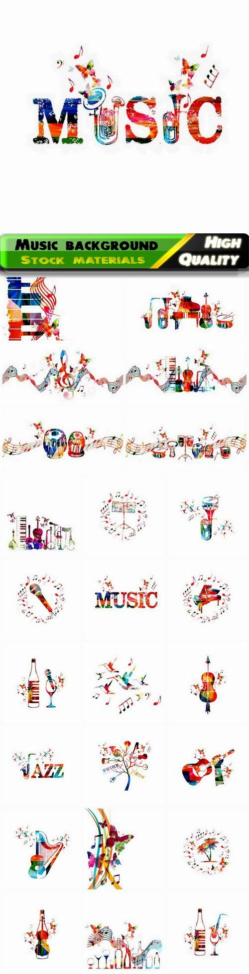 Music background with piano cello saxophone guitar harp 25 Eps