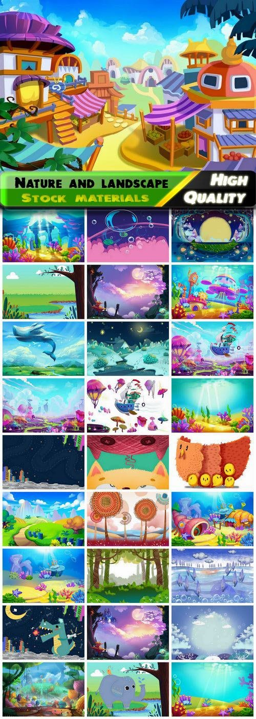 Cartoon nature and landscape game decoration concept 29 HQ Jpg