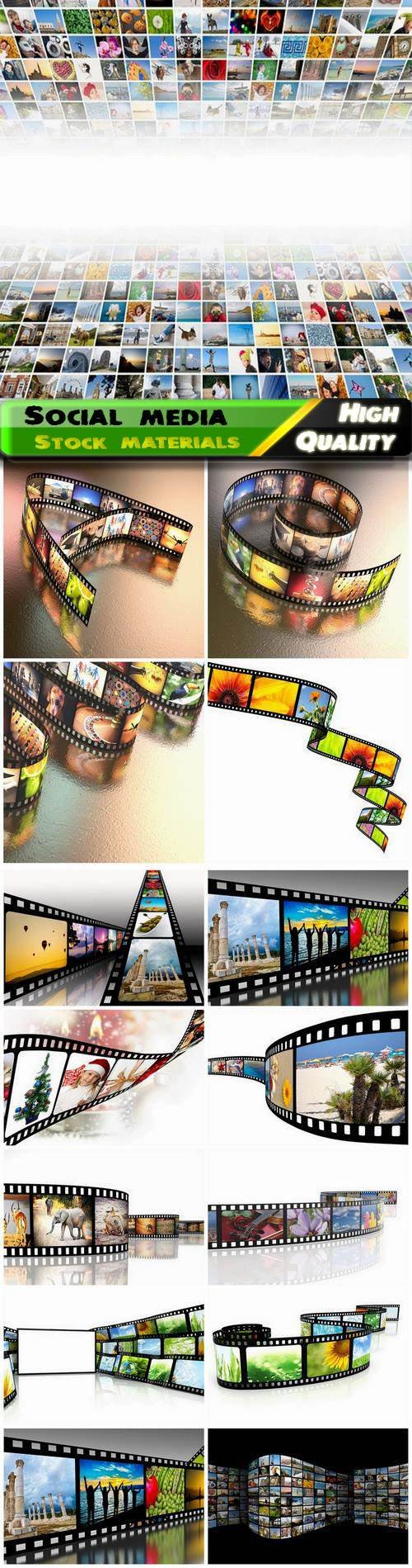 Creative concept multimedia and social media film with frames 16 Jpg