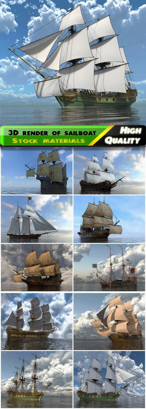 3D rendered illustration of old ocean sailboat and ship 12 HQ Jpg