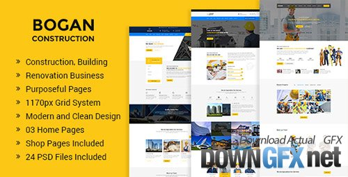 ThemeForest - Bogan v1.0 - Construction Building and Renovation Business PSD Template - 20246894