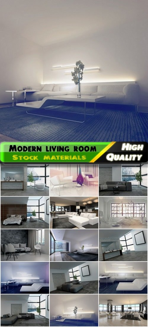 Modern living and bedroom interior in gray colors 15 HQ Jpg