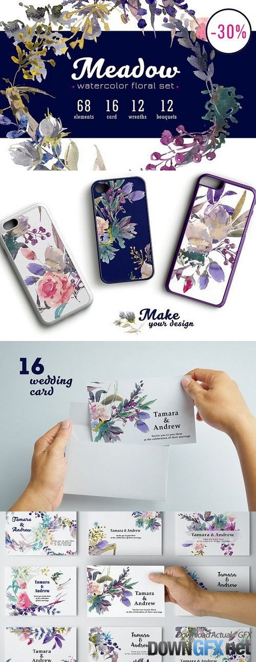 Meadow watercolor floral set 1338630
