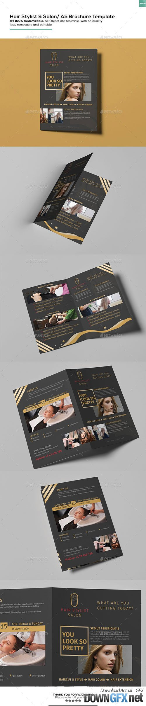 Hair Stylist & Salon/ A5 Brochure Template 16162465