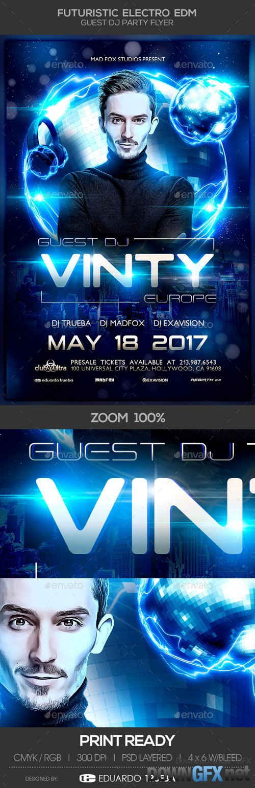 Futuristic Electro EDM Guest Dj Party Flyer 20469419