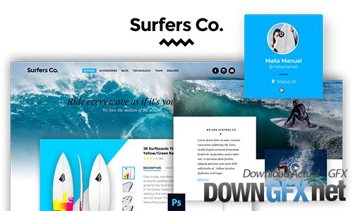 PSD Web Template - Surfers Co - One Page Theme For Surf Shop