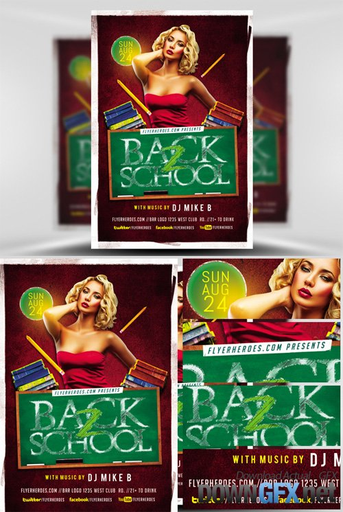Back to School Party Flyer Template 2017