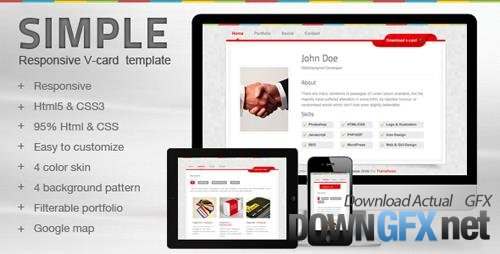 ThemeForest - Simple V-card Template (Update: 26 June 15) - 2460997
