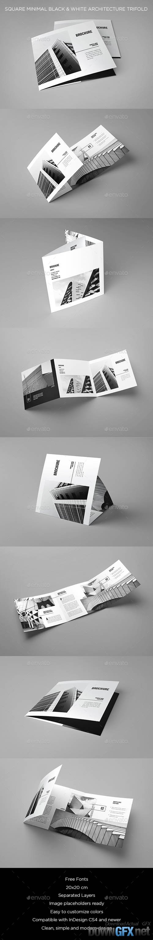 Square Minimal Black & White Architecture Trifold 20512196