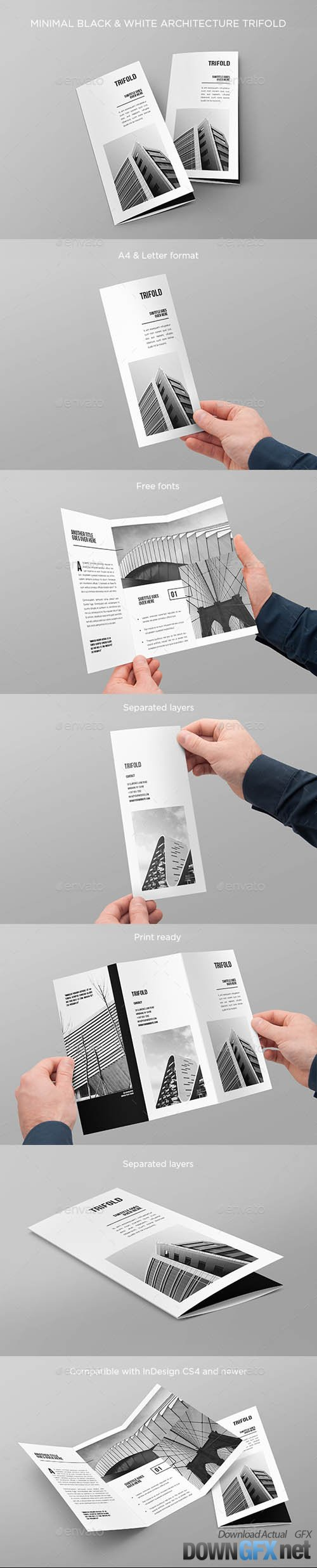 Minimal Black & White Architecture Trifold 20512162
