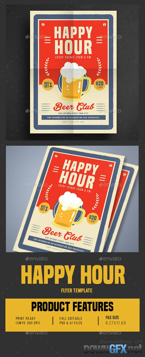 Retro Old Vintage Happy Hour Beer Promotion 16638604