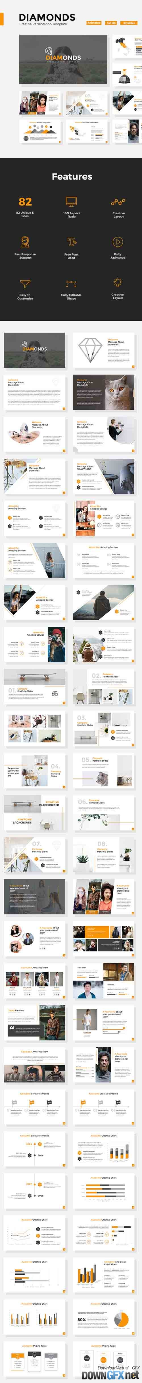 Diamonds - Creative Powerpoint Template 20708030