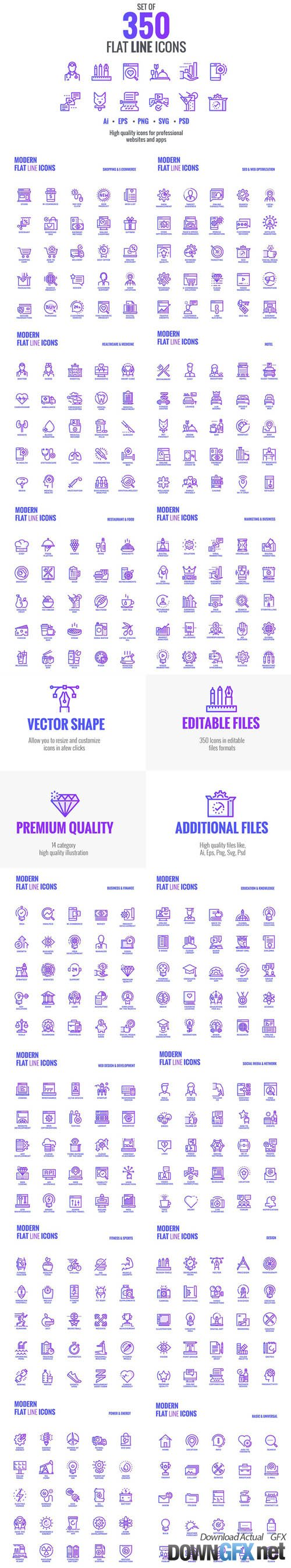 Big collection of Set flat gradient icons