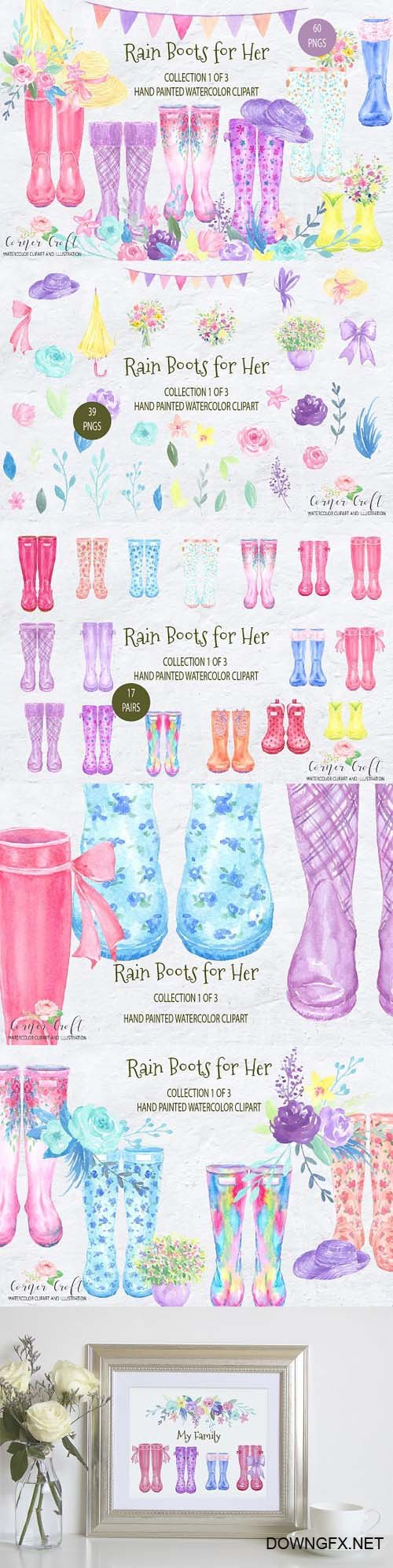 Watercolor Rain Boots for her 2103988