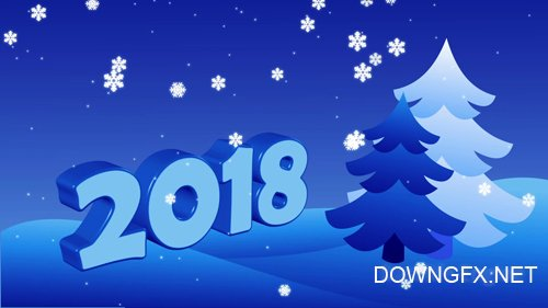 Happy New Year 2018 with christmas trees and snowflakes