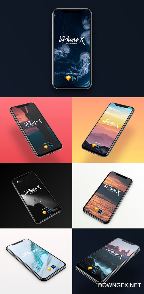 7 Most Popular iPhone X - 7 iPhone X angle mockups designed for Sketch & Photoshop