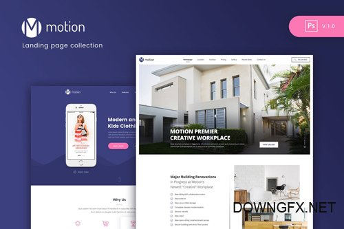 Motion - Landing page Collection PSD template