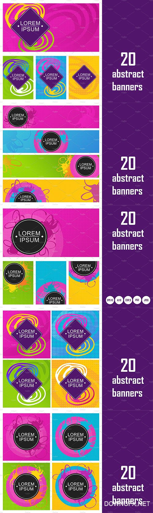 20 abstract bright neon banners - CM 2175105