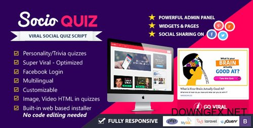 CodeCanyon - SocioQuiz v2.0.0 - Viral Quiz website with Facebook login - 10724120