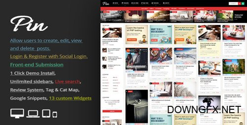 ThemeForest - Pin v3.7 - Pinterest Style / Personal Masonry Blog / Front-end Submission - 10272975