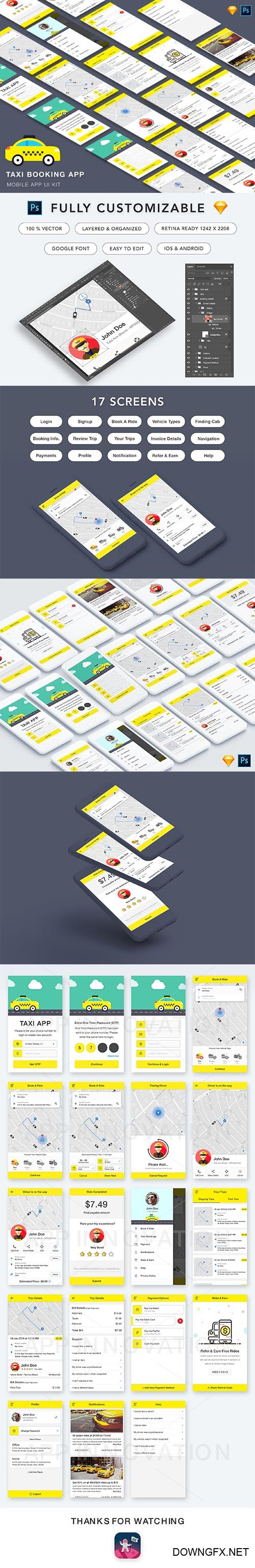 Taxi Booking App UI Kit - CM 2195772