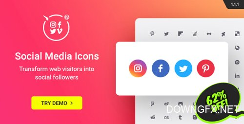 CodeCanyon - WordPress Social Media Icons v1.1.1 - Social Icons Plugin - 20612375
