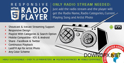 CodeCanyon - Visual Composer Addon - HTML5 Radio Player v1.4.4 - 12403103
