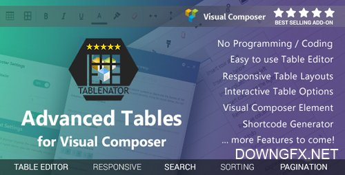 CodeCanyon - Tablenator v1.2.3 - Advanced Tables for Visual Composer - 18560899