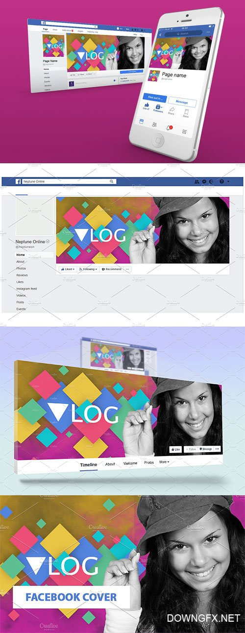 Vlog hero facebook cover template - CM 1896436