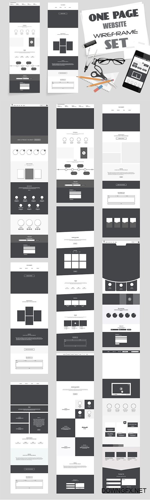 One Page Website Wireframe Kit. #3 - CM 1485846