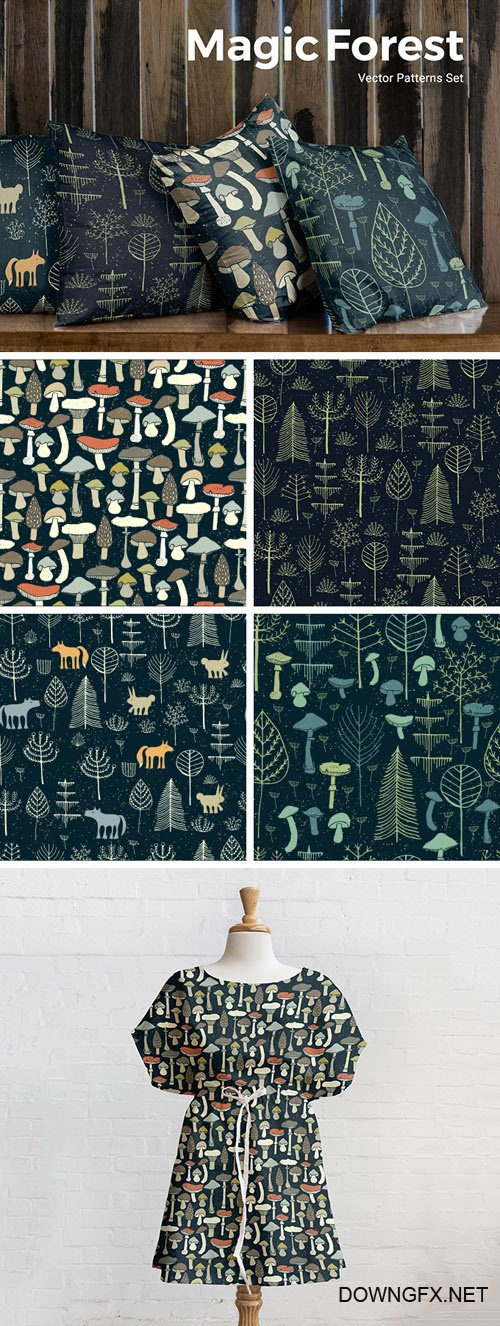 AI, EPS, JPG Vector Patterns - Magic Forest