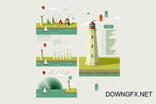infographics elements with a lighthouse